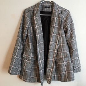 Nastygal Nobody's Business Gray Plaid Blazer